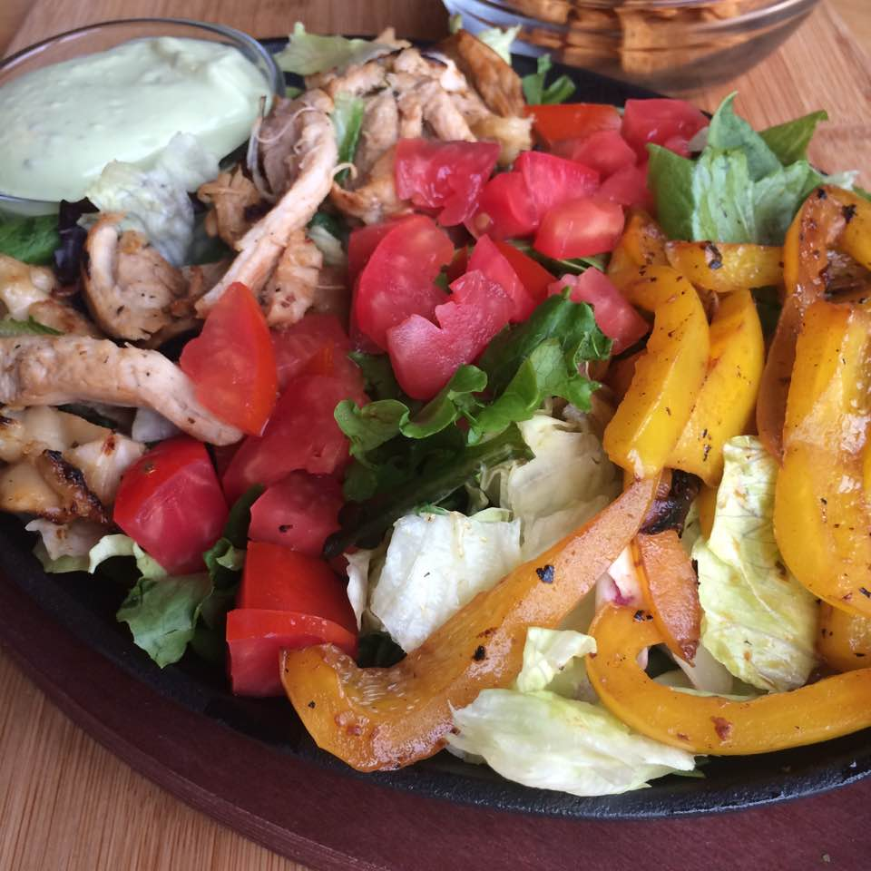 Chicken tequila fajita salad