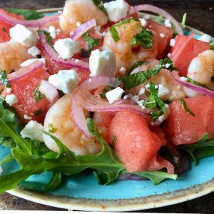 Shrimp, Watermelon, and Feta Salad